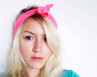 The Top Knot Headband- In Neon Pink