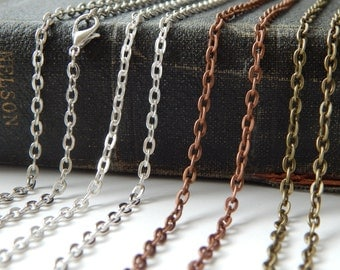 10 Rolo Link Chains 30 Inches Long Your Choice of Colors - Bronze Copper Silver