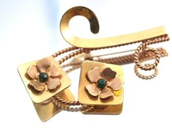 Vintage Gold Flower Pin Green Brooch Flower Pin Brass Green Broach