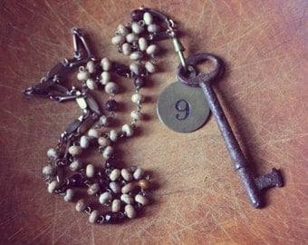 The Redshaw Inn. Antique Rusted Skeleton Key and Brass Fob Necklace.