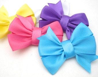 Set of Five Small Satin Pinwheel Bows, No Slip Hair Clips