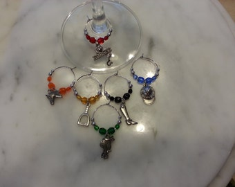 Equestrian Horse Riding Racing Wine Charms V2