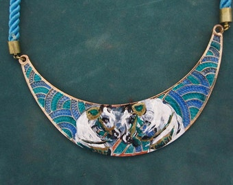 Hand Painted 2 Arabian horses in native costume  on a Cresent necklace