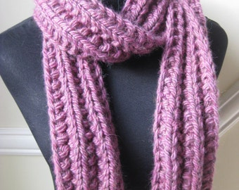Mulberry Chunky Scarf  Hand Knitted in  Alpaca / Wool FREE SHIPPING