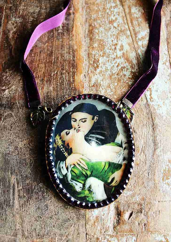 love - papier mache pendant or brooch with purple velvet ribbon / paper mache art