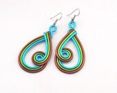 Tri-colored Tear Drop Earrings -  Customize your Colors