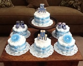 Blue Baby Shower Centerpieces bundt diaper cakes different colors and sizes available too