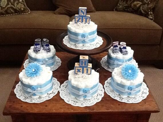 Blue baby shower centerpieces bundt diaper cakes different