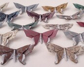 16 Swallowtail 3D Origami Butterflies (Victorian Damask Print) - Great for Name or Placement Cards