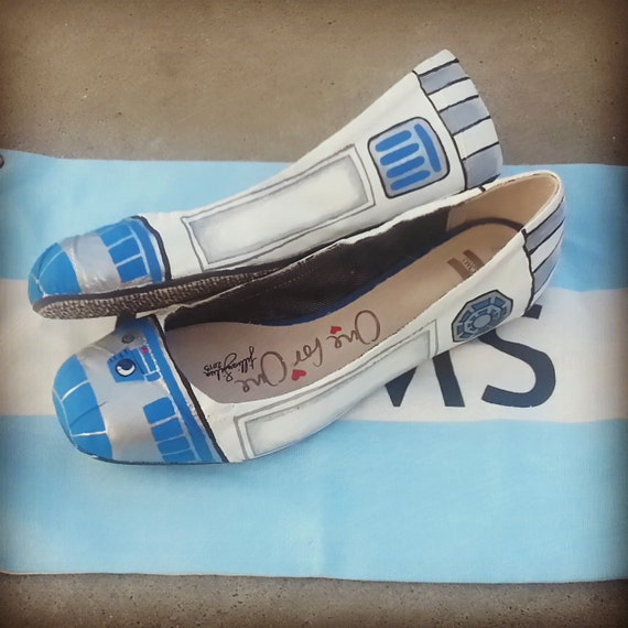 SALE READY 2 SHIP - r2d2 Star Wars Toms - Toms Ballet Flats -Ready to Ship Womens Size 7