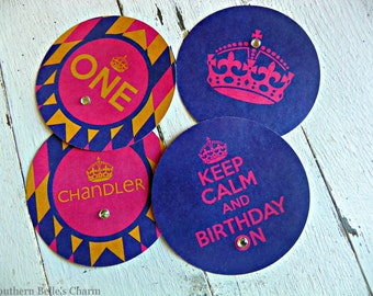"""Keep Calm and Birthday On 3"""" Circle Stickers...Set of 6 Stickers with Custom Wording"""