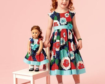 GIRLS - DOLLS PATTERN / Matching Dress / Fits American Girl Doll / Sizes 2 to 5 Or 6 to 8