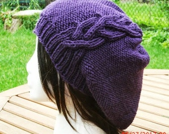 Hand Knit Hat - Womens Slouchy Hat - Womens Knit Hat - Purple Hat - Slouchy Knit Hat - Winter Hat - The Cableret Slouch Hat in Purple