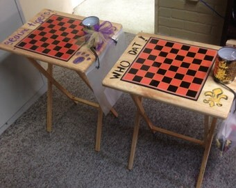 TV Tray Game Table for Chess or Checkers Personalized Saints or LSU