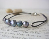 Gray Pearl and Brown Cord Bracelet