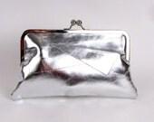SILVER Leather CLUTCH -  RETRO clutch - Silver Purse - Silver Leather Cross body Handbag