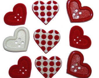 Gift of Love Jesse James Buttons Set of 9, Valentines day Buttons, Heart Buttons