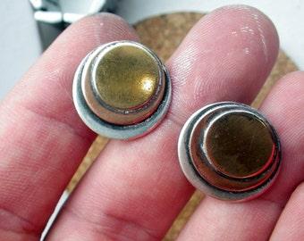 Mod Tritone Sterling Silver Earrings - Clip on.