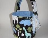 Zoology - Reversible Fabric Easter Basket - Safari Animals