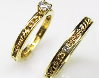 Diamond and Gold Particle Engagement Ring and Wedding Band Set