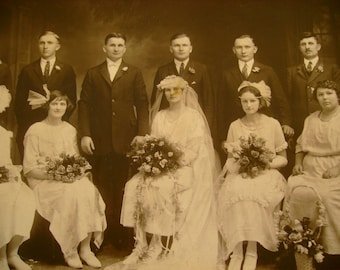 Bridesmaids - Antique 1900s Wedding Party Bridal Photograph, Sepia Tone, Measures 8 x 10 Inches