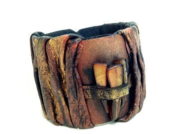 Tribal leather bracelet with brown shell mop gemstone beads Leather jewelry