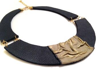 Stylish leather necklace. Leather jewelry. Elegant statement necklace.