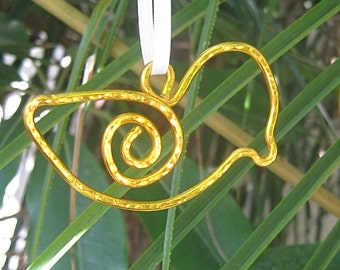 Gold bird ornament - wire bird - wedding favor - suncatcher - Christmas tree decoration - rear view mirror dangle - wire bookmark - birds
