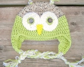 Child's Earflap Hat - Bright Green Owl