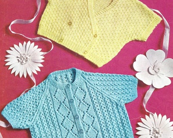 """PDF Knitting Pattern Baby Short Sleeved Cardigans to fit sizes 18-19"""" (D351)"""
