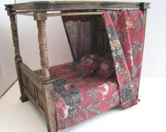 Tudor Canopy Bed,  dollhouse miniature bed, Medieval bed, double bed, dollhouse bed, Tudor,  twelfth scale