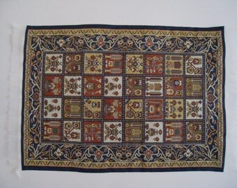 "Medieval Carpet , Heraldic crests, 4.5"" X 6"", twelfth scale, dollhouse miniature"