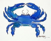 Chesapeake Bay Blue Crab, Watercolor Print , 9 by 12