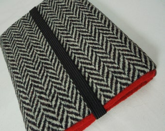 iPhone 4s/5/5s5c,Galaxy S4/S5,HTC one,Moto X/G,Nokia,lg g2,ipod classic/touch, droid sleeve cover -Black Wool Hearringbone Red