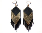 Layered Fringe Leather Earrings, Gold and Black Leather with Gold Nickel Free Ear Wires