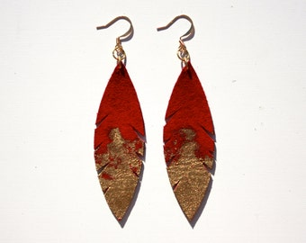 Leather Feather Earrings - Fire Red Suede dipped in Gold with Gold Nickel Free Ear Wires