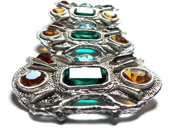 Eames Era Glass Bracelet, Massive Silver Link Bracelet, 1950s Jewelry Statement Bracelet, Designer Selro or Sellini Art Glass Bracelet