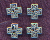 99 Cent Sale: Set of FOUR Filagree Cross Beads 17mm x 17mm