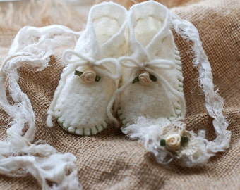 Hand Stitched Newborn Booties with Torn Silk Sari Ribbon Tie-Back Halo Set