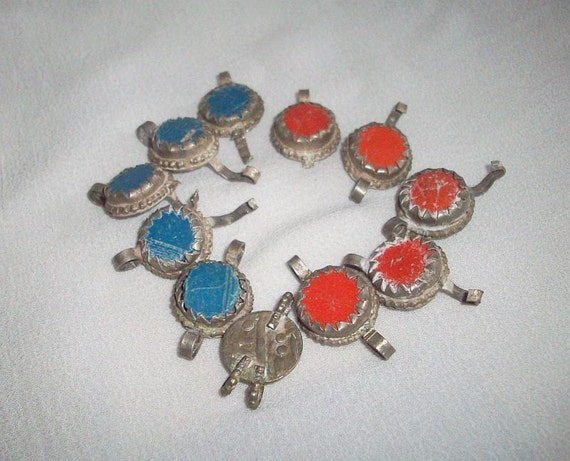 Vintage - 10 Ethnic Afghan links with Silver look Metal and blue and coral color cabochon