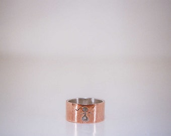 Ring copper and silver handmade-size 8 boy and girl-whimsical-fun ring Stick People