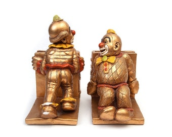 Vintage Gold Clown Bookends, Progressive Art