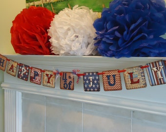 4th of July Banner-Patriotic Banner-Stars and Stripes Banner-Red White and Blue Banner-Rustic 4th of July-Independence Day-Rustic July 4th