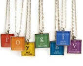 Chemistry Science Jewelry Personalized Periodic Table Necklace Antique Silver Glass Tile Jewelry Primary ROYGBIV
