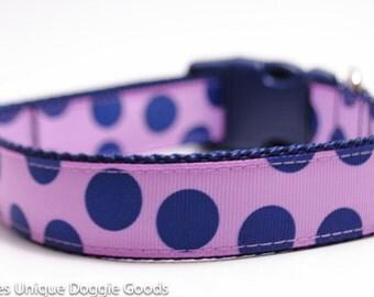 Lavender Navy Dot - Custom Dog Collar