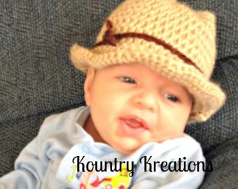 Crochet cowboy hat/baby cowboy hat/newborn hat/photography props,GETTY UP Crochet Cowboy Hat - Photography Prop - Baby Hat (Ready to Ship)