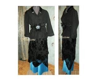 Downton Edwardian dress Womens vintage style gown jacket teal black 4 pc ensemble production costume