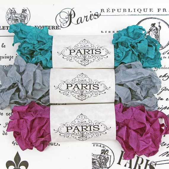 Seam Binding Ribbon- Scrunched -Shabby- Crinkled Rayon Ribbon-Purple- Silver Turquoise -French Vintage -Scrapbooking Supplies-  Grand Palais