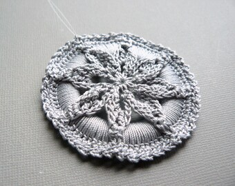Crochet Christmas Ornament -- Silver Gray Star Flower Medallion