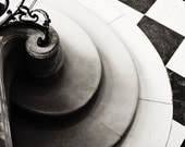 Black and White Photography, Paris, French staircase, checkered black and white floor, Rodin Hotel Biron, Paris Decor, French Wall Art